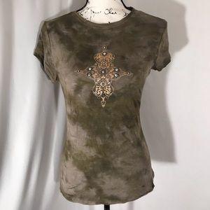 INC Scooped Neck Olive Short Sleeve Shirt L